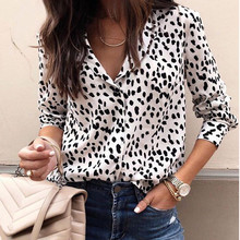 5XL blouses woman 2019 Long Sleeve Leopard chiffon blouse Turn Down Collar plus size women korean style summer tops