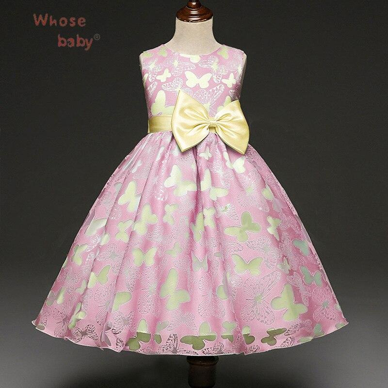 2017 Wedding Girls Dress Bows Butterfly Princess Dresses For Girls Kids vestido Fashion Birthday Party Evening Children Costumes вечернее платье mermaid dress vestido noiva 2015 w006 elie saab evening dress