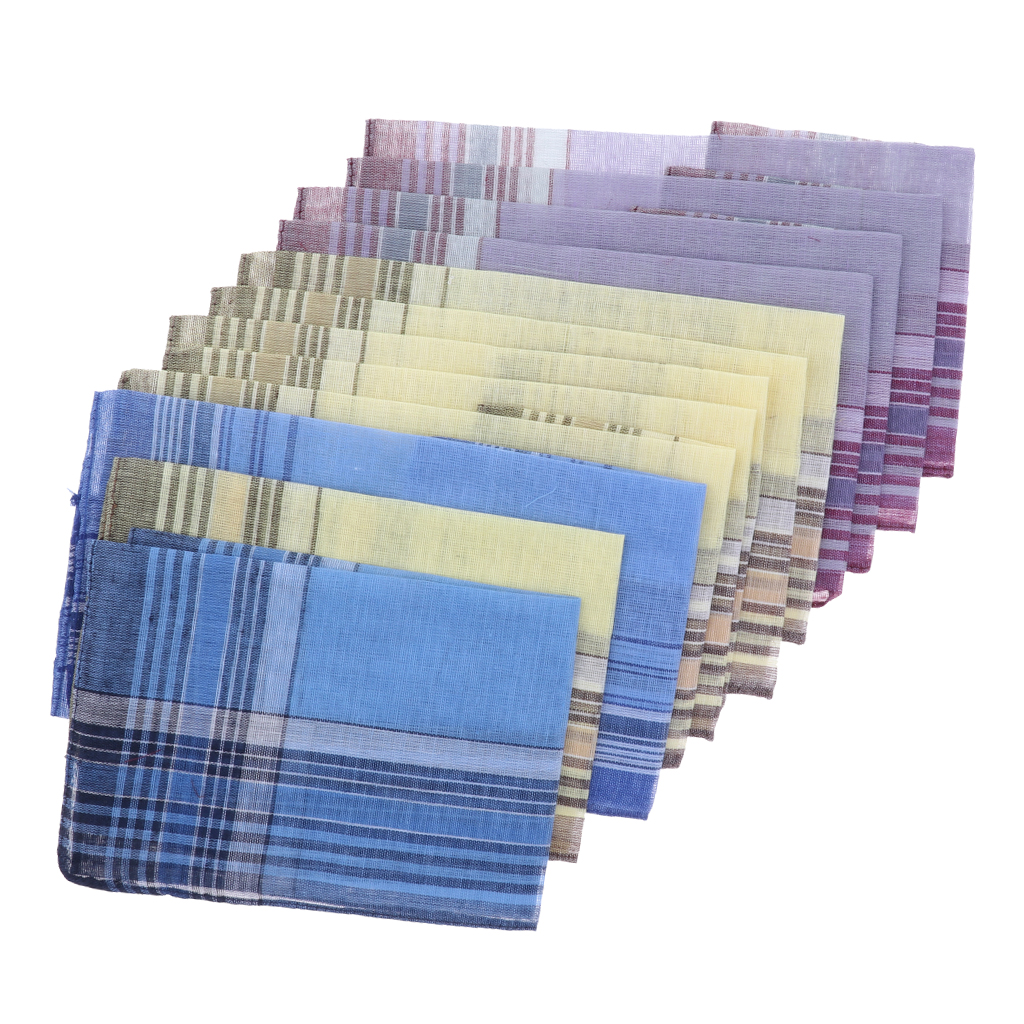 12x Men Cotton Pocket Square Plaid Pattern Hanky Wedding Party Handkerchief Hanky
