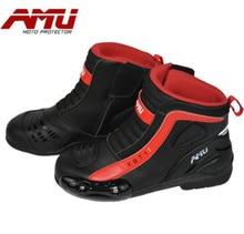 AMU Motorcycle Boots Men Waterproof Moto Motocross Riding Botas Shoes Protection Biker Motorbike
