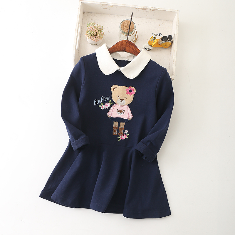 IYEAL Princess Girls Dress 2018 New Spring Bear Print Children Long Sleeve Baby Girl Cotton Casual Dresses for Kids 2-8 Years