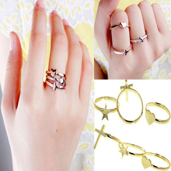 30Pcs 10 Sets 2014 Fashion Gold Rings Set Women Heart Cross Star