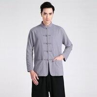 Vintage New Gray Chinese Male Long Sleeve Shirt Men Traditional Cotton Linen Kung Fu Shirt M L XL XXL XXXL 2601 2
