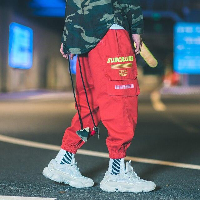 Vintage Japanese Style Fashion Men Jeans Casual Jogger Pants Big Pocket Loose Fit Cargo Pants Streetwear Hip Hop Tapered Pants