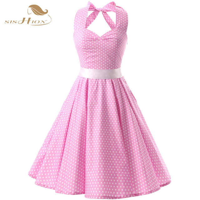 Sishion Pink Red Black 50s Vintage Dress Polka Dots Casual