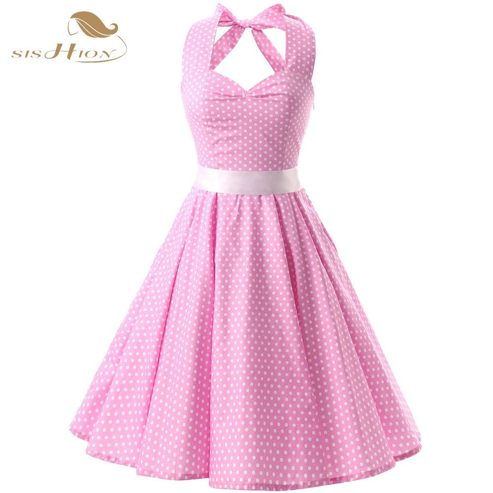 SISHION Pink Red Black 50s Vintage Dress Polka Dots Casual Party Bandage Retro Rockabilly Swing Women Summer Dresses VD0087