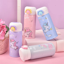 Hot sale Stainless steel children unicorn vacuum flask cartoon bounce thermos cup Portable travel tea milk mug creative gifts