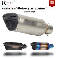 Inlet 51mm Motorcycle Exhaust Pipe Muffler with DB killer FOR Laser Sticker Fiber Exhaust Pipe for HONDA for YAMAHA