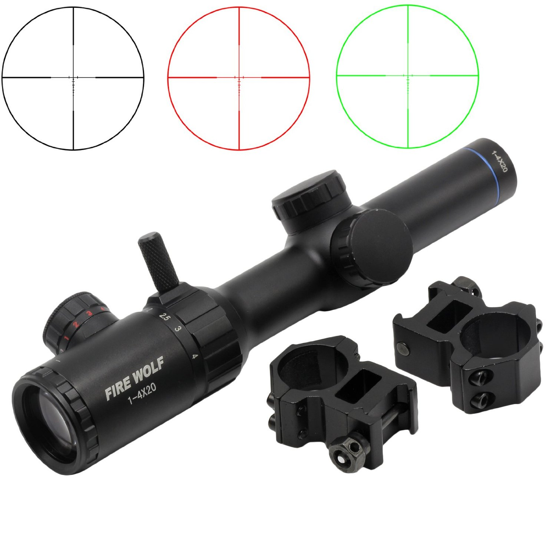 Tactical 1-4X20 Illuminated Red Green Dot Rifle Scope Optical Riflescope 1 Tube винтовочный оптический прицел rilong 1 x 25 dot compactriflescope t1 20 ht5 0021 t1 scope