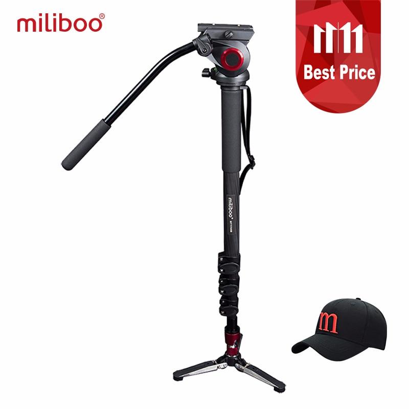 Miliboo Professionnel Monopode En fiber de Carbone Plat Chaleur Mini Trépied Protable Gorillapod 1/4 ''3/8'' Vis Stand DSLR Caméra Vidéo