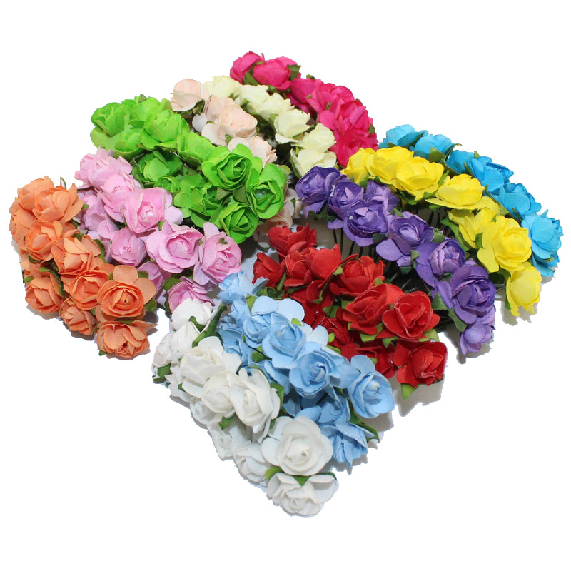 CCINEE 144PCS One lot 1cm Head Multicolor Artificial Paper Flowers Rose Used For Decorative Gift