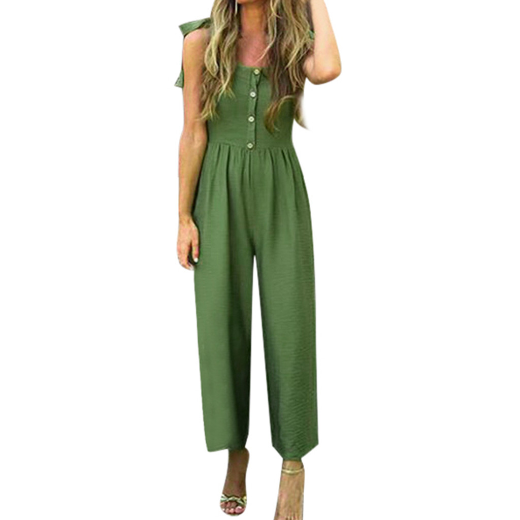 Jaycosin clothes Women Casual   Jumpsuit   Summer Solid With Buttons Shoulder Strap Bandagws Casual green   Jumpsuit