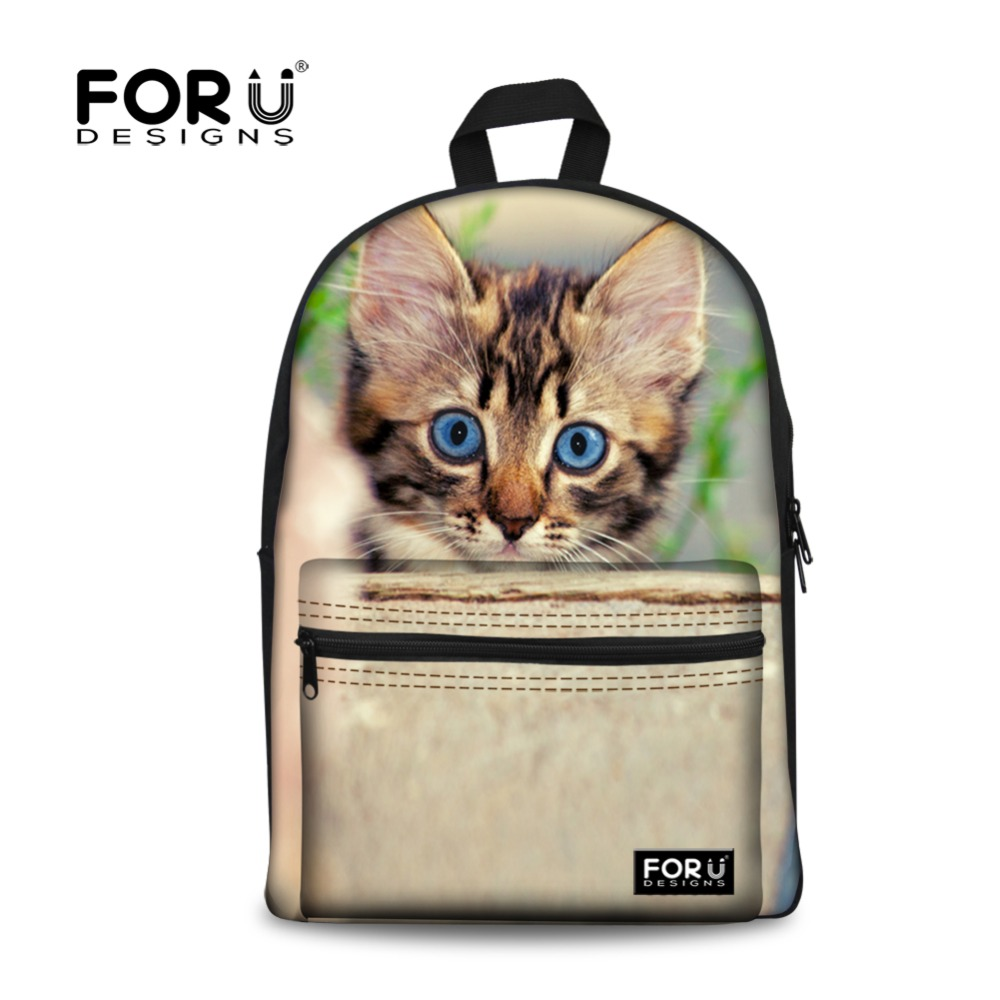 Canvas 3D Children Backpack School Girls Cute Animal Cat print Backpacks for Teenager Student Campus Back Pack Mochila Kids original new arrival 2017 adidas neo label w woven s pants women s pants sportswear