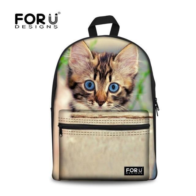 46ebcfa5fe1f Canvas 3D Children Backpack School Girls Cute Animal Cat print Backpacks  for Teenager Student Campus Back Pack Mochila Kids