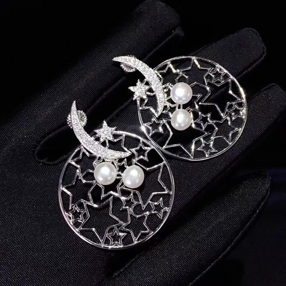 Boucle d'oreille en perle d'eau douce naturelle 925 en argent sterling avec zircon cubique lune et étoile boucle d'oreille mode femmes bijoux