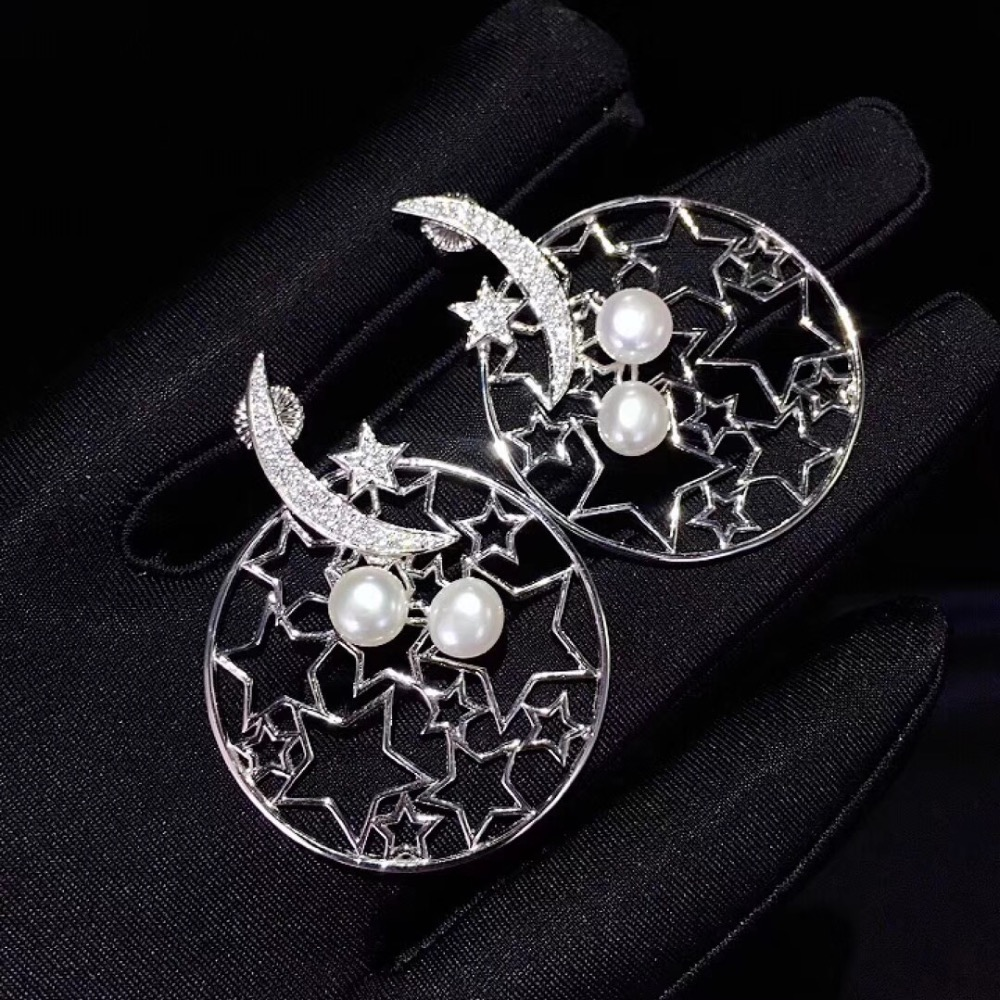 natural fresh water pearl stud earring 925 sterling silver with cubic zircon moon and star earring fashion women jewelry long earring natural fresh water pearl drop earring 925 sterling silver with cubic zircon leaf earring fashion women jewelry
