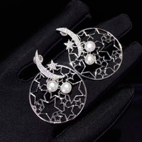natural fresh water pearl stud earring 925 sterling silver with cubic zircon moon and star earring fashion women jewelry