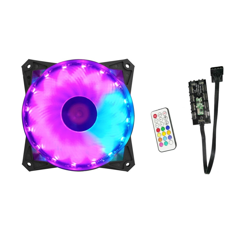 CPU Cooling Cooler 120mm CPU Fan RGB Adjustable LED Cooling Fan 12V Computer Case Radiator Heatsink Controller Remote For PC цена