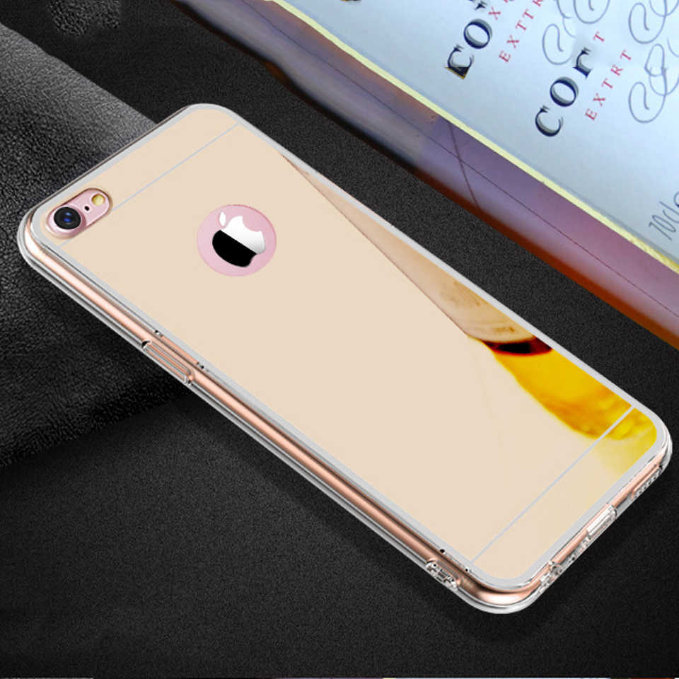 Trường hợp Sang Trọng Gương TPU Mềm Silicone Trường Hợp Đối Với iPhone 5 5 s SE 6 6 s 7 8 Cộng Với X XS MAX XR S R Shell Bìa Đối Với iPhone 7 Cộng Với i7 i7P
