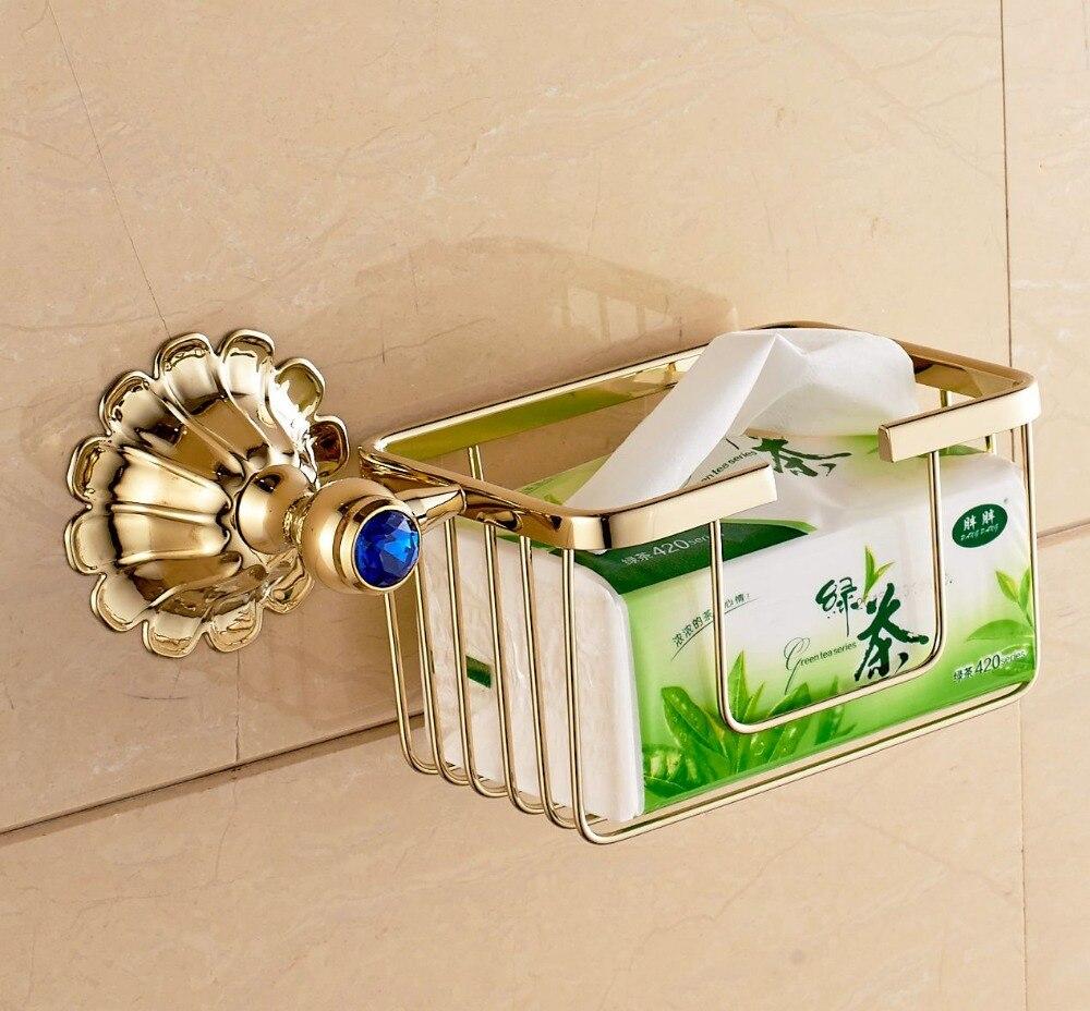 ФОТО Free Postage Golden Polish Toilet Paper Holder Bathroom Storage Brasket Wall Mounted