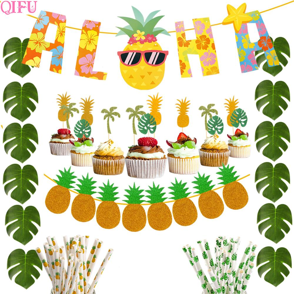QIFU Aloha Banner Hawaii Party Decorations Summer Beach Party Green Turtle Leaves Straw Cake Insert Pineapple Home Decoration