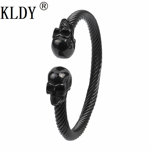 KLDY viking bracelet Stainless Steel Skull Bangle Bracelet for men women Punk Party Bangles Vikings men's Jewelry Christmas gift