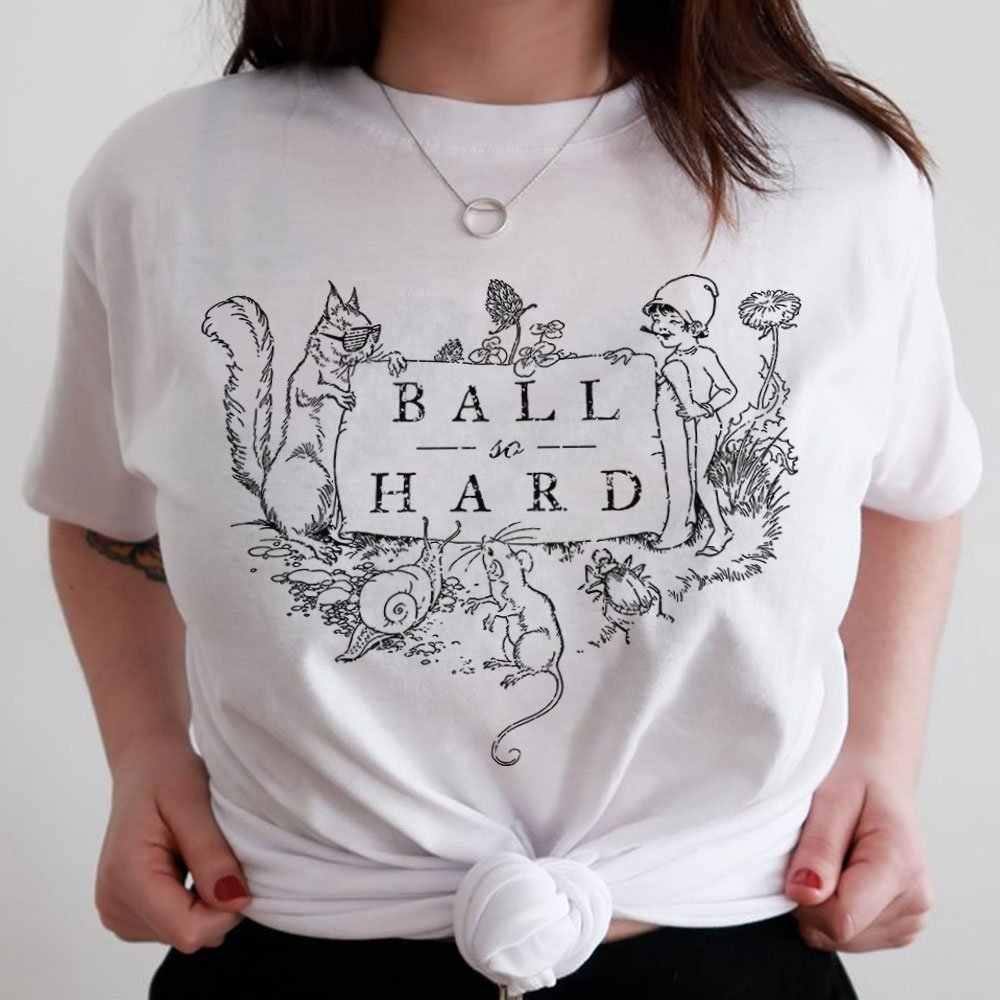 d70d0ab4b Funny America Style Ball So Hard White Women T shirt Summer Short Sleeved  Oversize Harajuku Vintage
