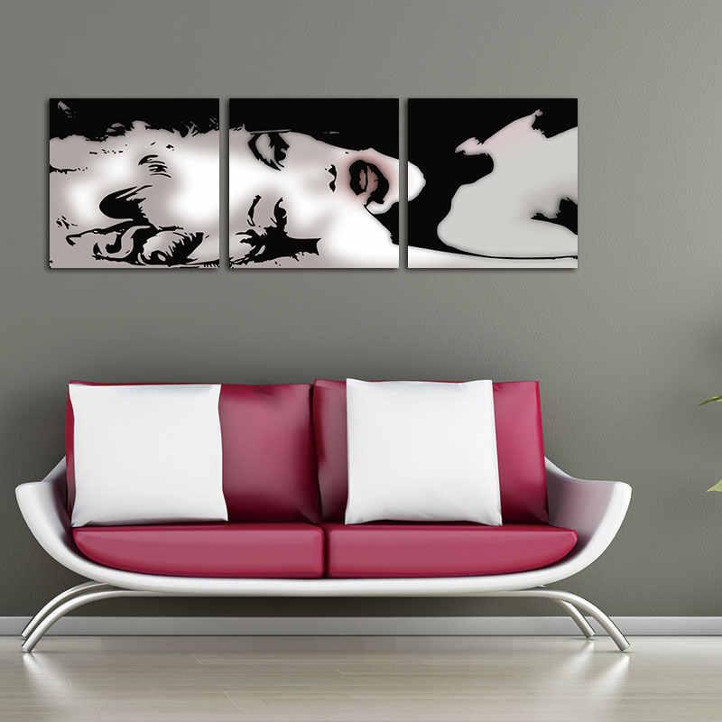 يطبع قماش اللوحة ديكور 3 لوحة النفط اللوحة الحديثة ديكور المنزل الفن صورة زيت على مثير مارلين مونرو جدار اللوحة