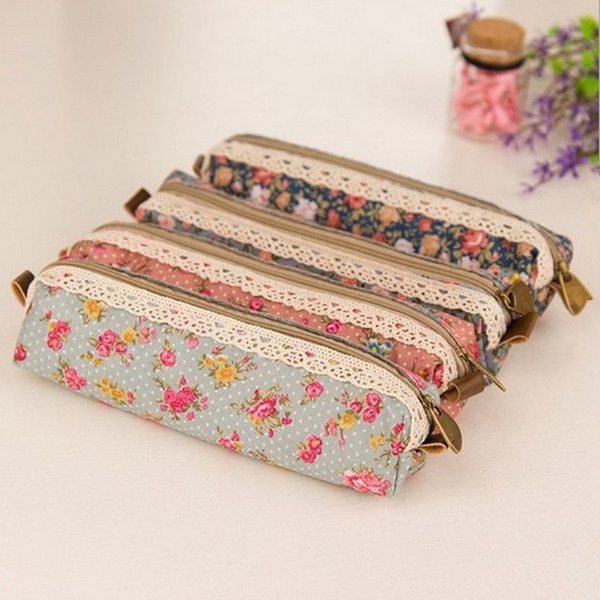 Vintage Flower Floral Lace Pencil Pen Case Cosmetic Makeup Bag Pouch Holder Women Cosmetic Bags Fresh purse Free Shipping карандаш для губ provoc semi permanent gel lip liner 48 цвет 48 bittersweet variant hex name e88b86