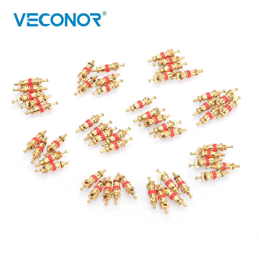 Veconor 50PCS Tire Valve Core Copper Material Tire Car Bike Tires Wire Accessories Bicycle Valve Tubeless Auto Replacement Parts