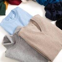 Для Мужчин's кашемировые свитера смесь Вязание пуловер с вырезом в виде буквы V Лидер продаж весенне-зимний мужской шерстяной трикотаж высок...