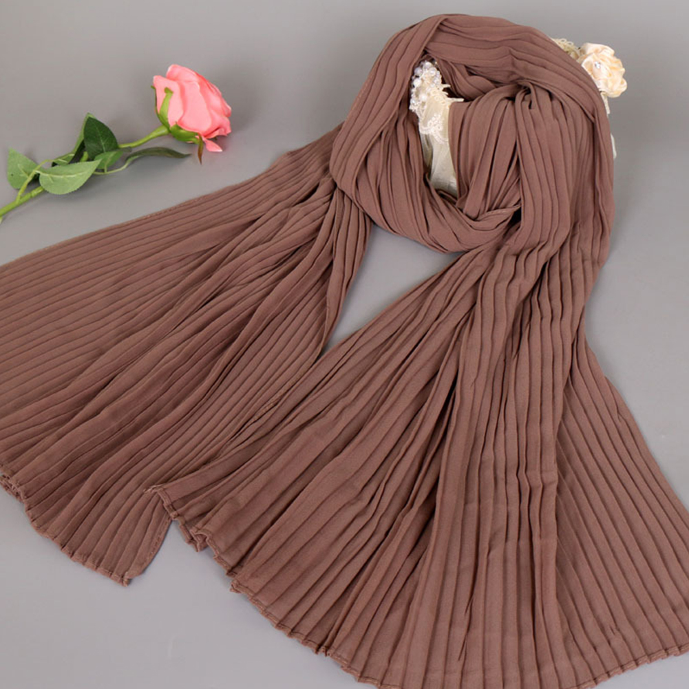 Muslim Women Fashion Pearl Chiffon Soft Solid Color Kerchief   Scarf     Wrap