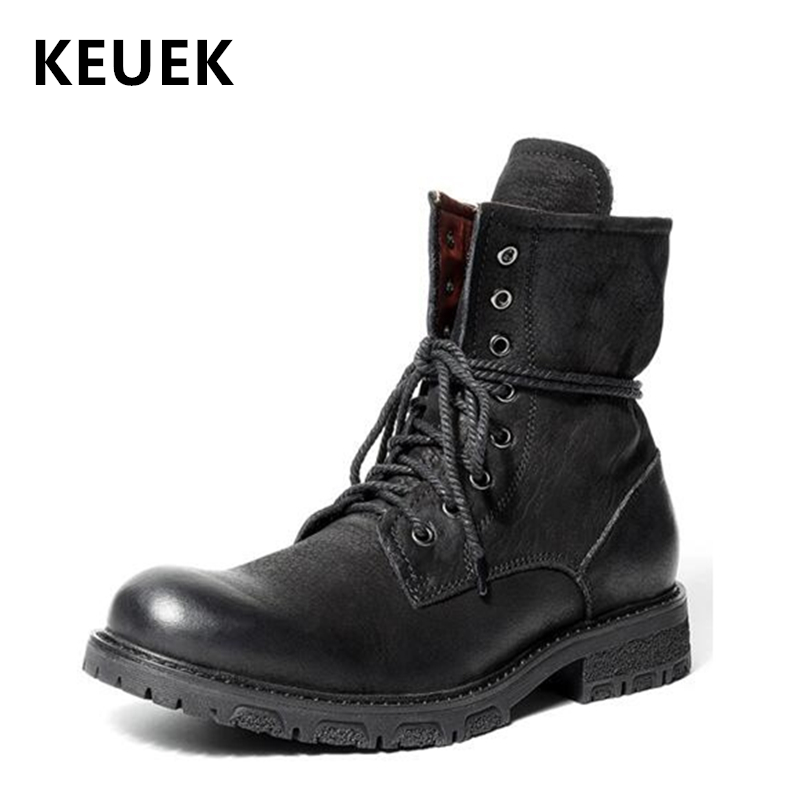 British style Men boots Luxury Vintage Military boots Genuine leather Tooling shoes Motorcycle boots botas hombre