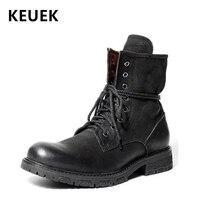 Британский стиль Для мужчин Роскошные Винтаж военные ботинки из натуральной кожи обувь мотоциклетные ботинки botas hombre 02A