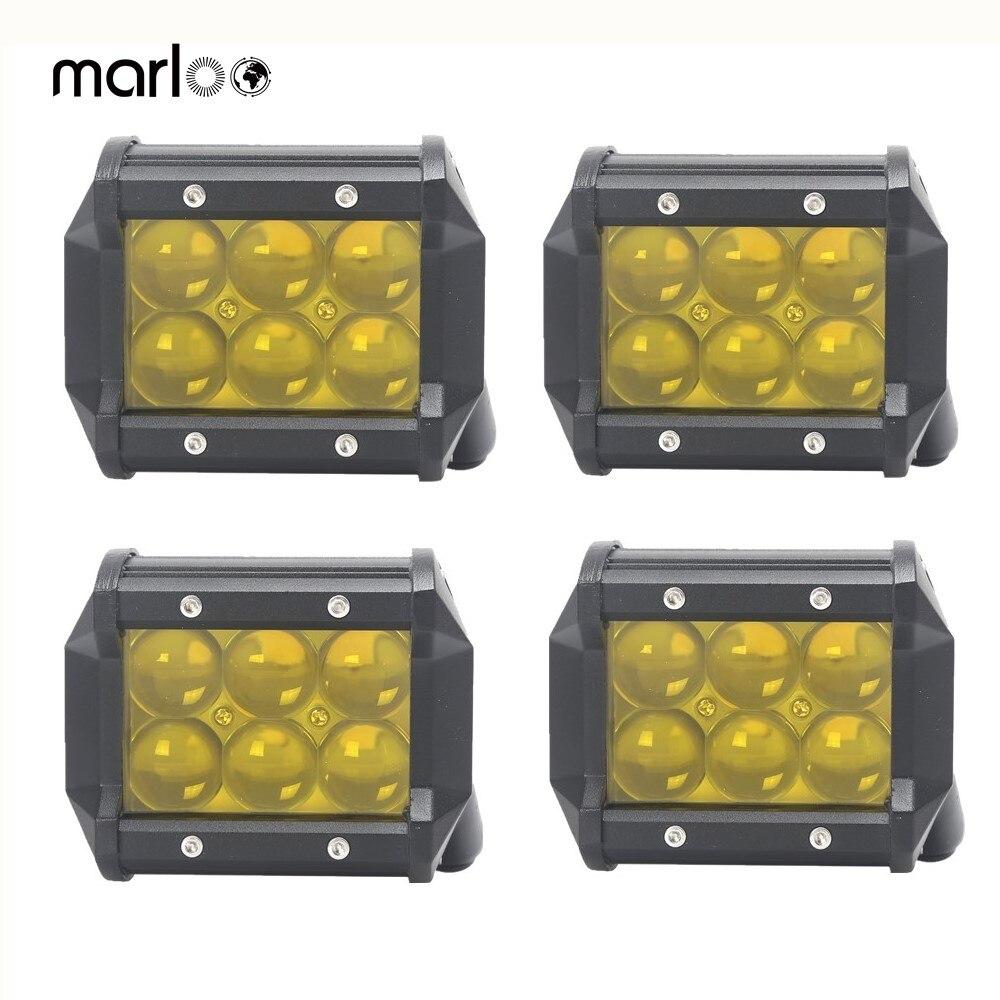 4 pièces 18 W LED Spot lumière de travail ambre LED Offroad voiture antibrouillard pour coffre bateau tracteur Jeep moto 12 V 24 V