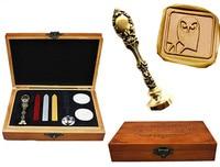 Vintage Luxury Wax Seal Sealing Stamp Owl On Fancy Script Brass Peacock Metal Handle Sticks Melting