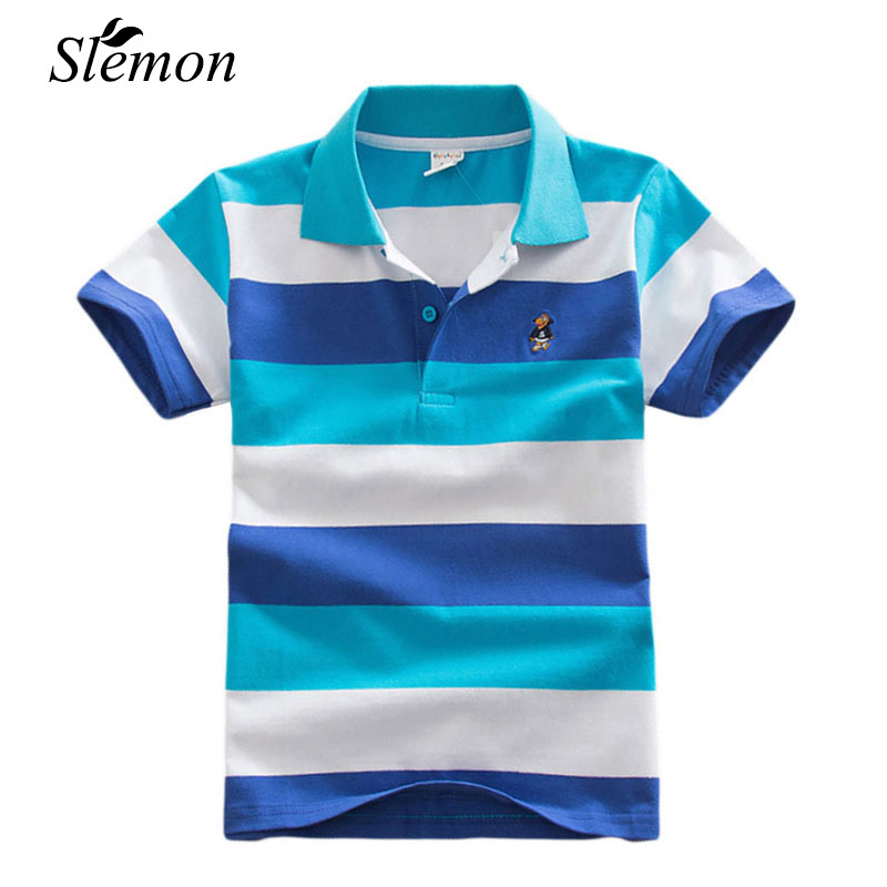 2018 Fashion Trendy Summer Kids Boy Polo Short Sleeve Tops Cotton School Polo Shirts Colorful Striped Children Casual Clothing ...