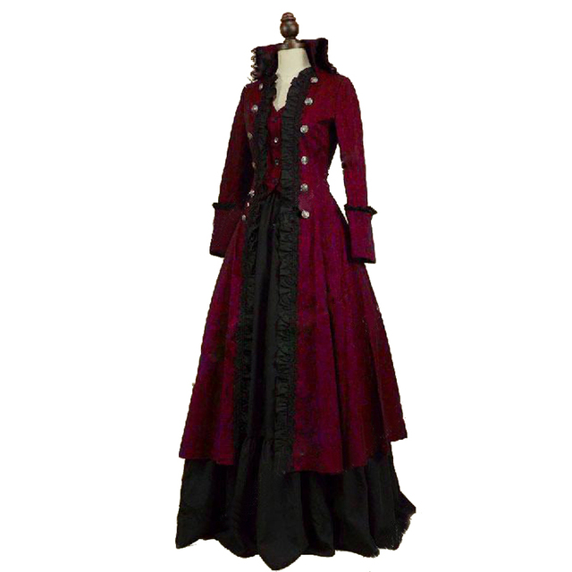 high quality victorian edwardian penny dreadful vampire steampunk pirate dress halloween costume - Halloween Costumes Victorian