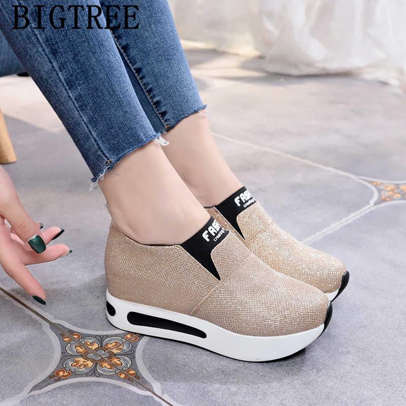 Glitter sneakers içinde artış kadın kama ayakkabı yüksek kadın rahat ayakkabılar üzerinde kayma platformu sneakers asansör ayakkabı buty damskie