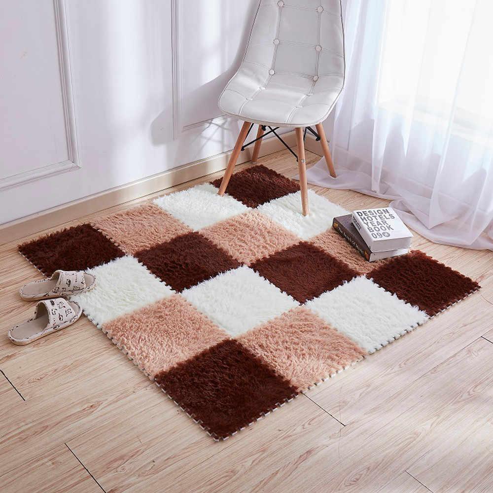 リビングルームの家の暖かいぬいぐるみ床の敷物ふわふわマットキッズルームマット絹のような敷物泡パズルマット EVA 床 30*30 センチメートル F719