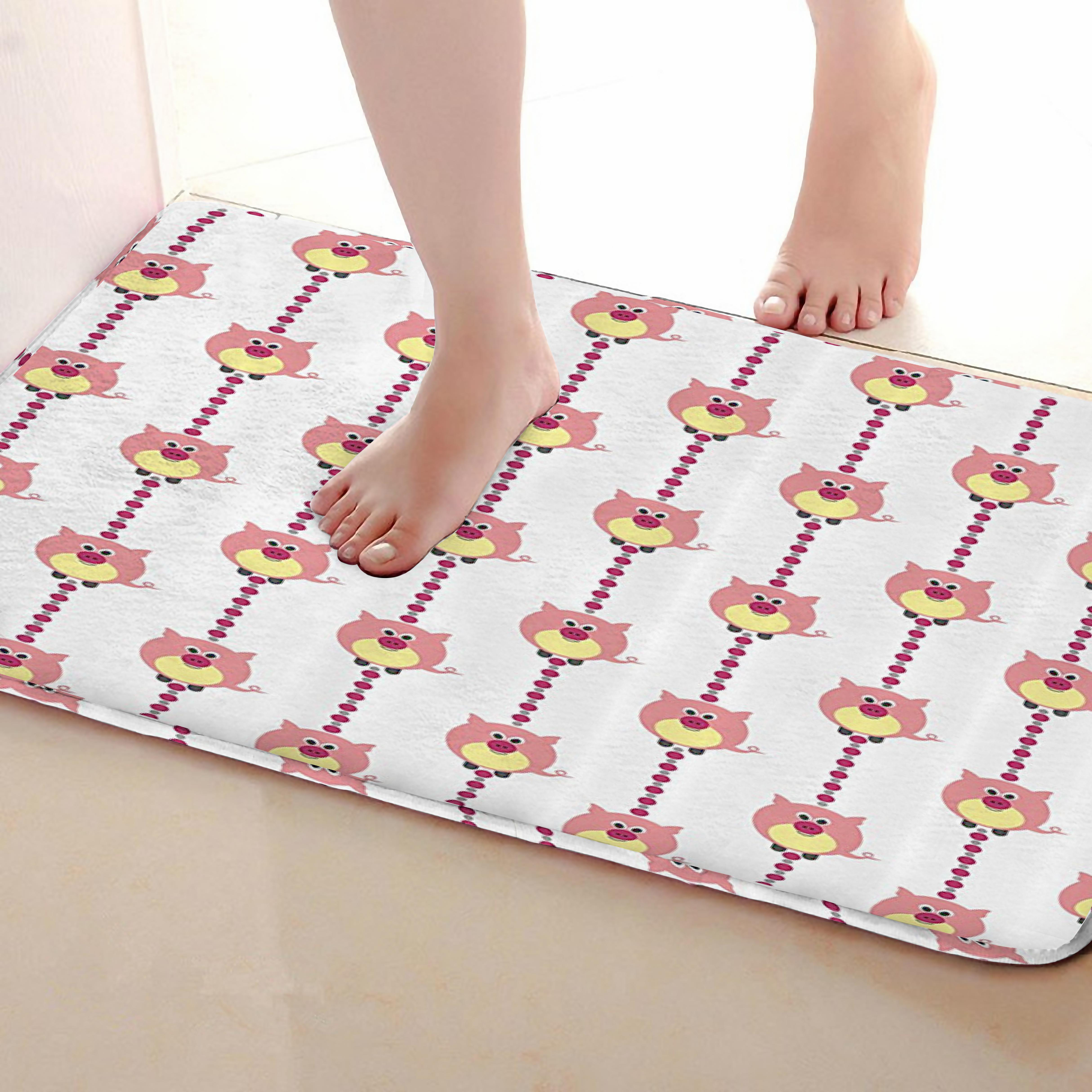 Pig Style Bathroom Mat,Funny Anti Skid Bath Mat,Shower Curtains Accessories,Matching Your Shower Curtain