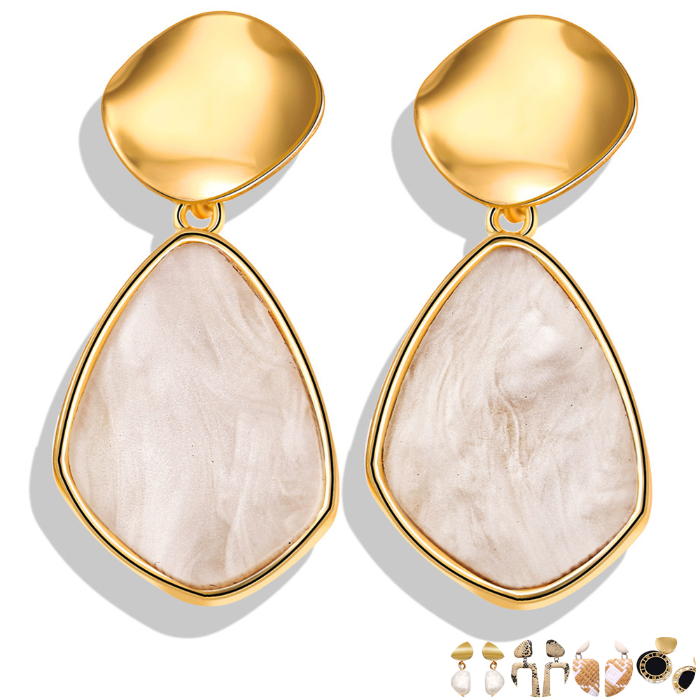 17KM Korean Earrings Geometric-Jewelry Wedding Drop-Round-Heart Gold Wholesale Women