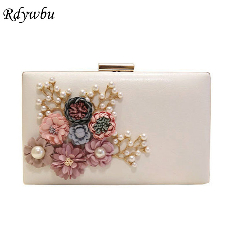 Detail Feedback Questions about Rdywbu 2018 Women Bag Hot Hand Evening Bags  New The Chain The Appliques Pattern Flowers Party Wedding Dinner Bags 6  Colors ... 15aeda772906