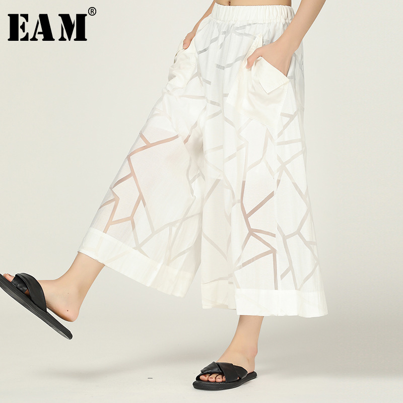 [EAM] 2019 New Spring Summer High Elastic Waist Personality Loose Temperament   Wide     Leg     Pants   Women Trousers Fashion Tide JX855