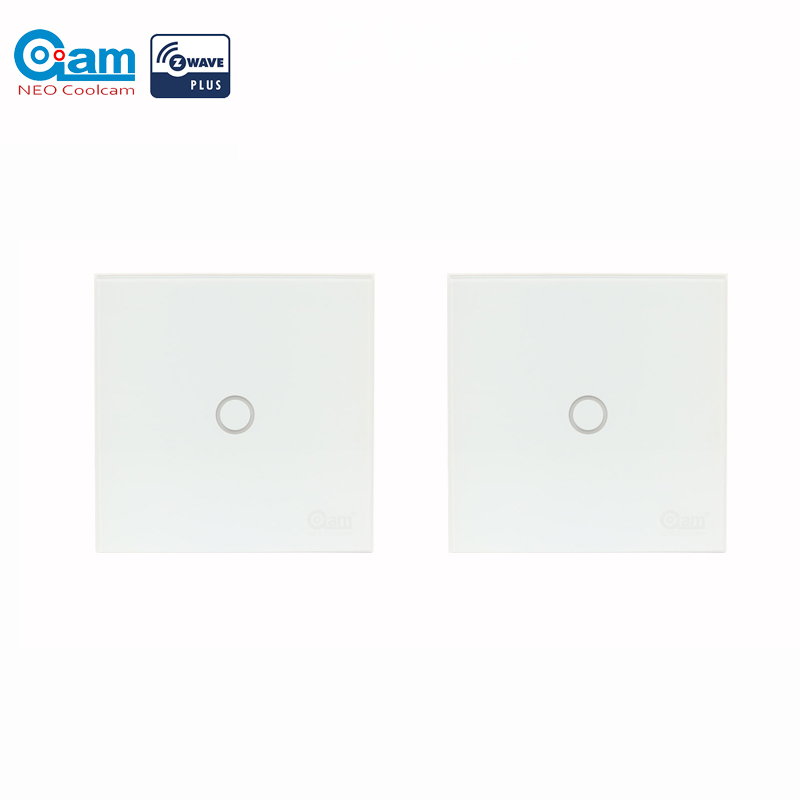 Coolcam 2PCS/Lot Z-wave Light Switch 1 Gang In-Wall Touch Panel Smart Home Device 1CH Home Automation Z Wave Plus Wireless
