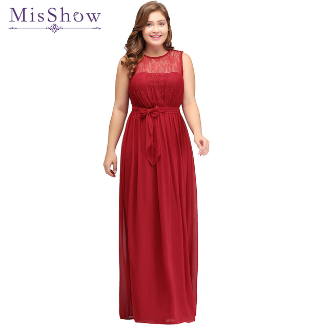 4510d406a0 MisShow Red Evening Dresses Plus size Long Robe de Soiree 2019 Lace Chiffon  Dress Backless Formal Evening Dress Gown With Sashes