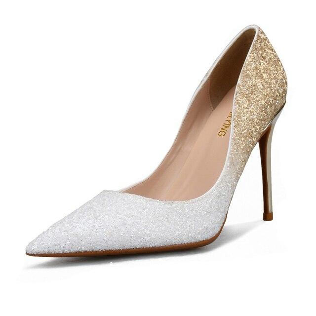 Для женщин пикантные Свадебные невесты блеск Scarpins Фетиш Классические высокие каблуки женские Escarpins леди Большой Размер (44) 45 46 Серебристые ботинки на каблуках