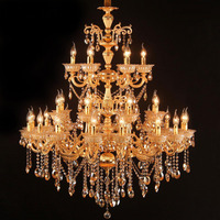 Luxurious Crystal Chandelier Light Fixture Hanging Lamp for Restaurant Hotel Project Large Lustres Luminaires Lighting