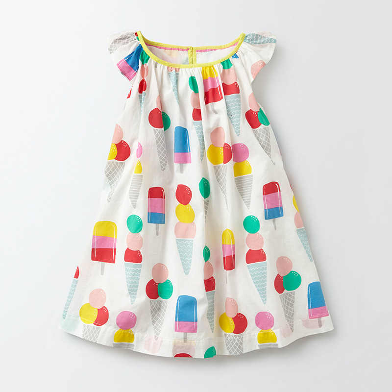 Little Maven New Summer Kids Clothing Lovely Sleeveless Colorful Icecreams O-neck Woven 1-6yrs Cotton Girls Lady Dresses