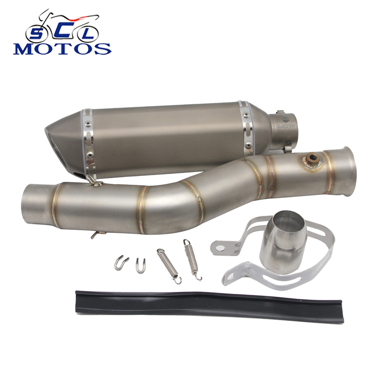 Sclmotos -Stainless Steel Motorcycle Exhaust Pipe Akrapovic Dirt Pit Bike Muffler with Middle Pipe for Yamaha YZF R1 2009-2014 выхлопная система для мотоциклов ymh yzf r1 akrapovic 09 13